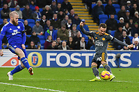 Football - 2018 / 2019 Premier League - Cardiff City vs. Leicester City<br /> <br /> James Maddison  of Leicester City shoots at goal in Leicster's 1st match since the death of Vichai Srivaddhanaprabha, at Cardiff City Stadium.<br /> <br /> COLORSPORT/WINSTON BYNORTH