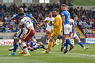 Bradford City defender Nat Knight-Percival (22)  shoots and Rochdale Goalkeeper, Josh Lillis (1) saves during the EFL Sky Bet League 1 match between Rochdale and Bradford City at Spotland, Rochdale, England on 21 April 2018. Picture by Mark Pollitt.