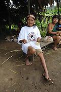 Ecuador, May 6 2010: An elder Huaorani woman poses for a picture. Copyright 2010 Peter Horrell