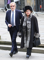 © Licensed to London News Pictures . 18/03/2016 . Manchester , UK . William Roache and Barbara Knox arrive at the service. Television stars and members of the public attend the funeral of Coronation Street creator Tony Warren at Manchester Cathedral . Photo credit : Joel Goodman/LNP