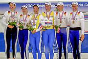Poznan, POLAND.   2004 FISA World Cup, Malta Lake Course.  <br /> <br /> Centre. GER3 W2X Gold Medalist. <br /> Britta OPPELT and Meike EVERS,  <br /> <br /> Left GER2 W2X silver Medalist, Manuela LUTZE and  Christiane HUTH, <br /> <br /> Bronze medalist GER1 W2X. <br /> Peggy WALESKA and Kerstin<br /> EL QALQILI-KOWALSKI <br /> <br /> <br /> 09.05.2004<br /> <br /> [Mandatory Credit:Peter SPURRIER/Intersport Images]