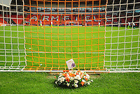 A wreath is laid in memory of former Blackpool and Exeter City player Russell Coughlin<br /> <br /> Photographer Kevin Barnes/CameraSport<br /> <br /> Football - The EFL Sky Bet League Two - Blackpool v Exeter City - Saturday 6th August 2016 - Bloomfield Road - Blackpool<br /> <br /> World Copyright © 2016 CameraSport. All rights reserved. 43 Linden Ave. Countesthorpe. Leicester. England. LE8 5PG - Tel: +44 (0) 116 277 4147 - admin@camerasport.com - www.camerasport.com