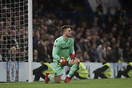 Jack Butland , the goalkeeper of Stoke city looks on. <br /> Premier league match, Chelsea v Stoke city at Stamford Bridge in London on Saturday 30th December 2017.<br /> pic by Kieran Clarke, Andrew Orchard sports photography.