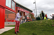 Pre match entertainment as fans celebrate outside the stadium and through the city before and during the Premier League match between Liverpool and Aston Villa at Anfield, Liverpool, England on 5 July 2020.