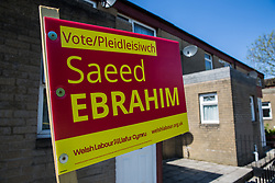 Cardiff, UK. 2nd May, 2017. A Cardiff Council election sign for Welsh Labour candidate Saeed Ebrahim is pictured in the constituency of Butetown.