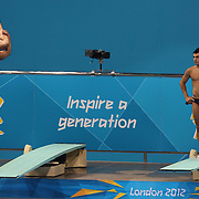 Mexican divers practicing at the Diving Pool at the Aquatic Centre at Olympic Park, Stratford during the London 2012 Olympic games preparation at the London Olympics. London, UK. 22nd July 2012. Photo Tim Clayton