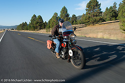 Terry Richardson riding his 1932 Harley-Davidson VL during Stage 14 - (284 miles) of the Motorcycle Cannonball Cross-Country Endurance Run, which on this day ran from Meridian to Lewiston, Idaho, USA. Friday, September 19, 2014.  Photography ©2014 Michael Lichter.