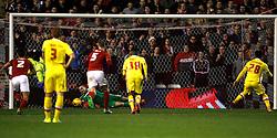 Dorus de Vries of Nottingham Forest saves a penalty from Nicky Maynard of Milton Keynes Dons (R) - Mandatory byline: Jack Phillips / JMP - 07966386802 - 19/12/2015 - FOOTBALL - The City Ground - Nottingham, Nottinghamshire - Nottingham Forest v MK Dons - Sky Bet Championship