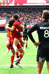 March 9, 2019 - Vancouver, BC, U.S. - VANCOUVER, BC - MARCH 09:  Team Spain celebrates a win over Team New Zealand during day 1 of the 2019 Canada Sevens Rugby Tournament on March 9, 2019 at BC Place in Vancouver, British Columbia, Canada. (Photo by Devin Manky/Icon Sportswire) (Credit Image: © Devin Manky/Icon SMI via ZUMA Press)