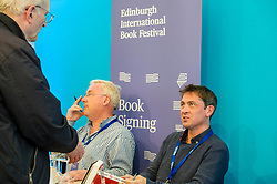 Pictured: Authors Richard Murohy (Dirty Secrets) and Conor Woodman (Shark$)<br /> Book fanatics headed to Charlotte Square in Edinburgh which is the hub of the international Book Festival to meet the authors and also to meet up with fellow fans of the printed word.<br /> <br /> <br /> Ger Harley | EEm 14 August 2017