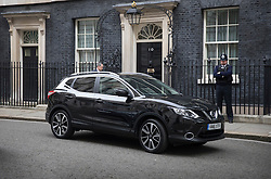 © Licensed to London News Pictures. 14/10/2016. London, UK. Nissan Chairman and CEO Carlos Ghosn leaves Downing Street in a Nissan Qashqai car after holding talks with Prime Minister Theresa May. Mr Ghosn has stated that he would like a government pledge to  compensate Nissan for any tariffs that may be imposed after the UK leaves the EU. Photo credit: Peter Macdiarmid/LNP
