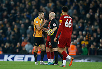 Football - 2019 / 2020 Premier League - Liverpool vs. Wolverhampton Wanderers<br /> <br /> Conor Coady of Wolves argues with referee Anthony Taylor after VAR disallows a Wolves equaliser late in the frst half, at Anfield.<br /> <br /> COLORSPORT/ALAN MARTIN