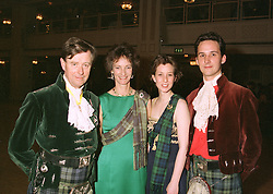 Left to right, the DUKE & DUCHESS OF ARGYLL and their children LADY LOUISE CAMPBELL and the MARQUESS OF LORNE, at a ball in London on May 1st 1997.LYB 30