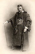 Henry Irving (1838-1905) English actor-manager, the first actor to be honoured with a knighthood (1895). Irving as Shylock in 'The Merchant of Venice' by William Shakespeare.  He first  presented his production at the Lyceum Theatre, London, 1879. Photogravure c1890.