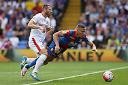 Phil Bardsley of Stoke City pushes Dwight Gayle of Crystal Palace . Barclays Premier League match, Crystal Palace v Stoke City at Selhurst Park in London on Saturday 7th May 2016. pic by John Patrick Fletcher, Andrew Orchard sports photography.
