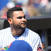 Pitcher Alex Torres, in the dugout after pitching an inning of outs during the New York Mets Vs Washington Nationals MLB regular season baseball game at Citi Field, Queens, New York. USA. 3rd May 2015. Photo Tim Clayton