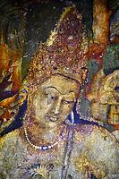 Inde, état de Maharashtra, Ajanta, grottes d'Ajanta classées au Patrimoine mondial de l'UNESCO, grotte N°1, peinture de Bodhisattva Padmapani // India, Maharashtra, Ajanta cave temple, Unesco World Heritage, cave N°1, Bodhisattva Padmapani painting
