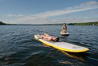 Lake Winnisquam paddle boarding.  ©2014 Karen Bobotas Photographer