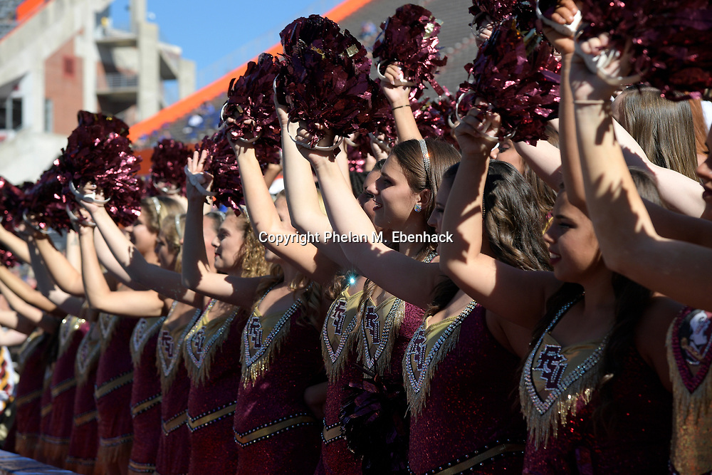 Florida State dancers perform in the stands before an NCAA college football game against Florida Saturday, Nov. 25, 2017, in Gainesville, Fla. (Photo by Phelan M. Ebenhack)
