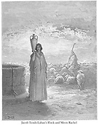 Jacob Tends Laban's Flocks and Meets Rachel Genesis 29:1-20 From the book 'Bible Gallery' Illustrated by Gustave Dore with Memoir of Doré and Descriptive Letter-press by Talbot W. Chambers D.D. Published by Cassell & Company Limited in London and simultaneously by Mame in Tours, France in 1866
