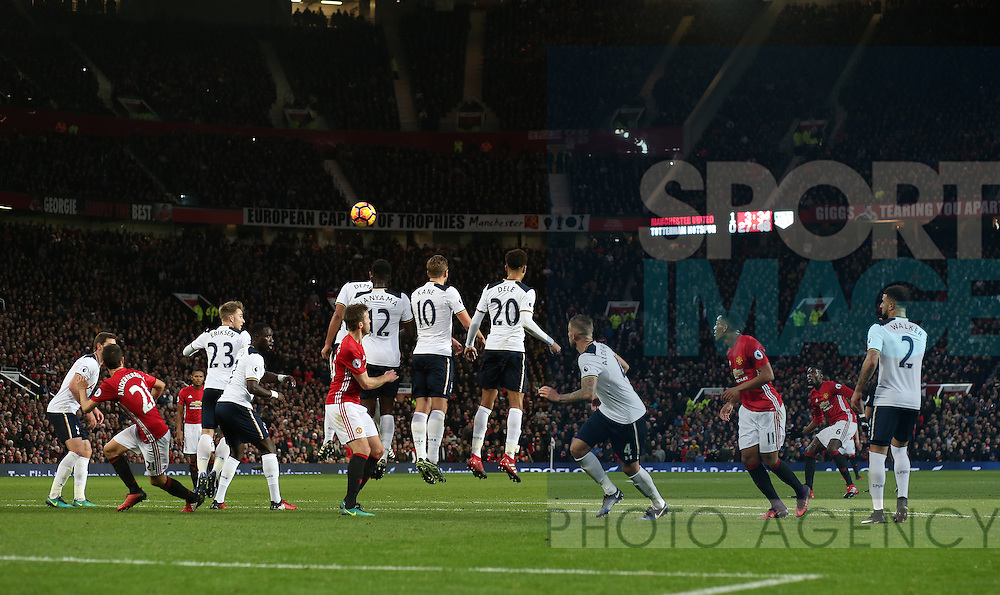 Paul Pogba of Manchester United takes a free kick during the English Premier League match at Old Trafford Stadium, Manchester. Picture date: December 11th, 2016. Pic Simon Bellis/Sportimage