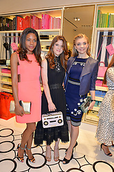 Left to right, NAOMIE HARRIS, ROSE LESLIE and NATALIE DORMER at the opening party of the new Kate Spade New York store at 182 Regent Street, London on 21st April 2016.