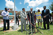 Author David Lee Richardson speaks during a press conference outside the McKinney Police Headquarters in McKinney, Texas on June 8, 2015.  (Cooper Neill for The New York Times)