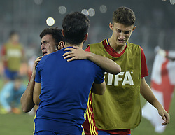 October 28, 2017 - Kolkata, West Bengal, India - Spain players cry dure to their defeat in final match of FIFA U 17 World Cup India 2017 in Kolkata. Player of England and Spain in action during the FIFA U 17 World Cup India 2017 Final match on October 28, 2017 in Kolkata. England wins FIFA U 17 World Cup 5 - 2 goals against Spain. (Credit Image: © Saikat Paul/Pacific Press via ZUMA Wire)