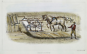 Patrick Bell (1799-1869) Scottish clergyman and inventor. His horse-powered machine  reaping of 1826. First successful reaping machine, but not commercialised. Hand-coloured engraving 1851.
