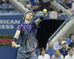 September 6, 2017 - New York, New York, United States - Andrey Rublev of Russia serves during match against Rafael Nadal of Spain at US Open Championships at Billie Jean King National Tennis Center  (Credit Image: © Lev Radin/Pacific Press via ZUMA Wire)