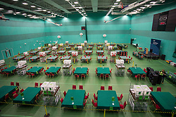 The Fife election counting centre in Glenrothes seems eerily quiet before the polls have closed.<br /> <br /> © Dave Johnston/ EEm