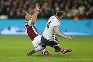 Sofiane Feghouli of West Ham United goes in for two footed challenge and fouls Phil Jones of Manchester United which leads to a red card and his sending off. Premier league match, West Ham Utd v Manchester Utd at the London Stadium, Queen Elizabeth Olympic Park in London on Monday 2nd January 2017.<br /> pic by John Patrick Fletcher, Andrew Orchard sports photography.