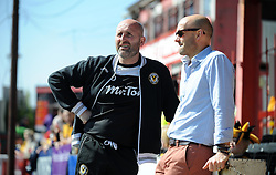 Newport County Manager, Jimmy Dack and Exeter City's Manager Paul Tisdale chat prior to kick off  - Photo mandatory by-line: Harry Trump/JMP - Mobile: 07966 386802 - 06/04/15 - SPORT - FOOTBALL - Sky Bet League Two - Exeter City v Newport County - St James Park, Exeter, England.
