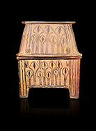 Minoan  pottery gabled larnax coffin chest with foliage decorations,  Anthanatoi 1370-1250 BC, Heraklion Archaeological  Museum, black background. .<br /> <br /> If you prefer to buy from our ALAMY PHOTO LIBRARY  Collection visit : https://www.alamy.com/portfolio/paul-williams-funkystock/minoan-art-artefacts.html . Type -   Heraklion   - into the LOWER SEARCH WITHIN GALLERY box. Refine search by adding background colour, place, museum etc<br /> <br /> Visit our MINOAN ART PHOTO COLLECTIONS for more photos to download  as wall art prints https://funkystock.photoshelter.com/gallery-collection/Ancient-Minoans-Art-Artefacts-Antiquities-Historic-Places-Pictures-Images-of/C0000ricT2SU_M9w