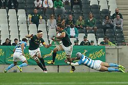 Eben Etzebeth of the Springboks  evades the tackle from Juan Manuel Leguizamon of Argentina during the Rugby Championship test match between South Africa and Argentina held at the Mbombela Stadium in Nelspruit, Mpumalanga, South Africa on the 20th August 2016<br /> <br /> Photo by Ron Gaunt/ RealTime Images