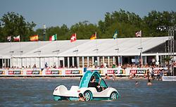 28.04.2012, Burgenland, Neusiedler See, Podersdorf, AUT, PWA, Surf Worldcup, im Bild Tretboot // during surfworldcup at podersdorf, EXPA Pictures © 2012, PhotoCredit: EXPA/ M. Kuhnke