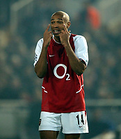 Photo. Javier Garcia<br />19/03/2003 Valencia v Arsenal, Champions League second phase, Estadio Mestalla<br />Thierry Henry asks for more vision from his team mates