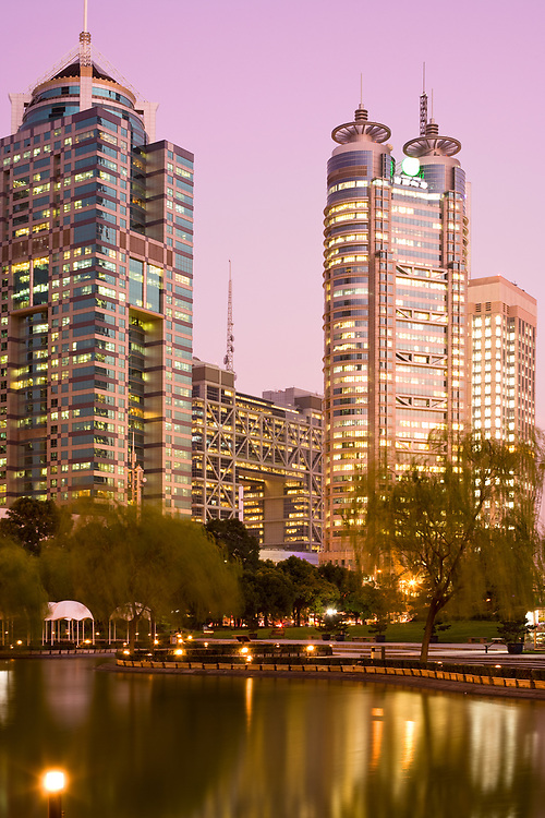 Office buildings at Lujiazui financial district from Central Greenfield park in Pudong, Shanghai, China,