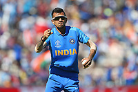 Cricket - 2019 ICC Cricket World Cup - Group Stage: India vs. Afghanistan<br /> <br /> Yuzvendra Chahal of India celebrates taking the catch of Rahmat Shah of Afghanistan off the bowling of Jasprit Bumrah of India during the cricket world cup match at the Hampshire Bowl, Southampton.<br /> <br /> COLORSPORT/SHAUN BOGGUST