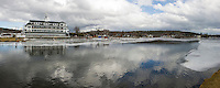 Unseasonably warm temperatures throughout this winter have made for more open water and unsafe ice conditions in Meredith Bay.  (Karen Bobotas/for the Laconia Daily Sun)