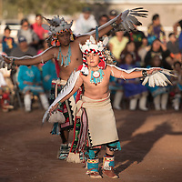 Aaden Quetawki with the Soaring Eagle dance group performs the Deer dance for the crowd gathered at the fairground in Zuni Friday as part of the nightly dances.