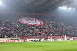 December 13, 2018 - Piraeus, Attiki, Greece - Olympiacos flag by their fans, before the start of the game. (Credit Image: © Dimitrios Karvountzis/Pacific Press via ZUMA Wire)