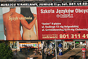 Huge billboard with naked couple, Warsaw, Poland.