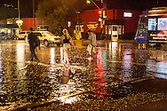 Heavy rain at the intersection of 4th avenue and 6th street