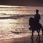Horseback riding on the beach. Revolcadero Beach. Acapulco, Guerrero. Mexico.