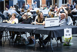 © Licensed to London News Pictures . 26/05/2019. Manchester, UK. The count for seats in the constituency of North West England in the European Parliamentary election , at Manchester Central convention centre . Photo credit: Joel Goodman/LNP