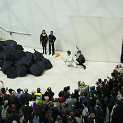 A pelican is about to drown in an oil slick made out of black umbrellas running down the steps in the Museum. Reverend Billy and the art activist group Bp or not BP call out for the British Museum to stop accepting corporate sponsorship from the oil company BP at the British Museum and to an end to the use of fossil fuels.