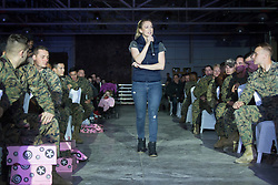 December 21, 2017 - Sevilla, Spain - Comedian Iliza Shlesinger performs during Chairman?'s USO Holiday Tour at Moon Air Base Dec. 21, 2017. Marine Corps Gen. Joe Dunford, chairman of the Joint Chiefs of Staff, and Army Command Sgt. Maj. John W. Troxell, senior enlisted advisor to the chairman, along with USO entertainers, visited service members who are deployed during the holidays at various locations across Europe and the Middle East. .(Credit Image: ? US Navy/ZUMA Wire/ZUMAPRESS.com)