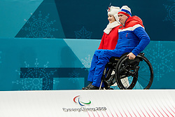 March 17, 2018 - Pyeongchang, SOUTH KOREA - 180317 Rune Lorentsen of Norway arrives at the medal ceremony after the wheelchair curling final match between China and Norway during day eight of the 2018 Winter Paralympics on March 17, 2018 in Pyeongchang..Photo: Vegard Wivestad GrÂ¿tt / BILDBYRN / kod VG / 170135 (Credit Image: © Vegard Wivestad Gr¯Tt/Bildbyran via ZUMA Press)