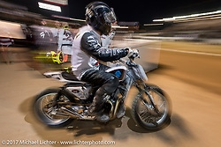 At the Flat Track races during the Born Free pre-party and Harley-Davidson Stampede at Costa Mesa Speedway. Costa Mesa, CA. USA. Thursday June 22, 2017. Photography ©2017 Michael Lichter.